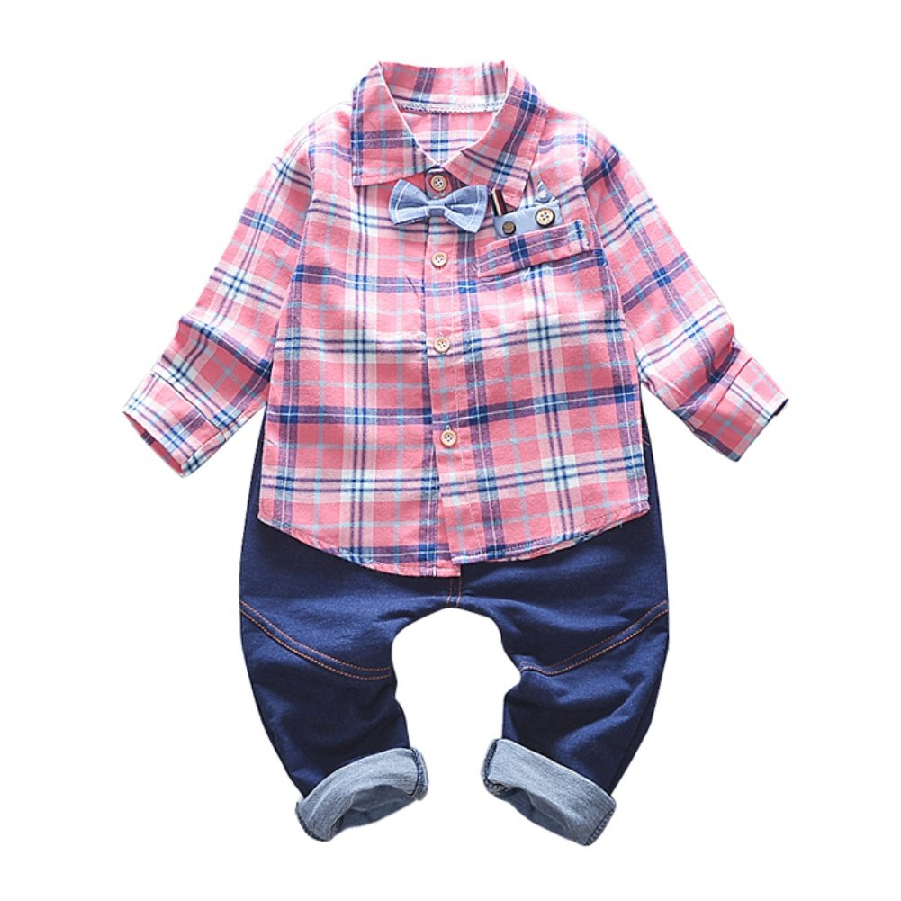 Baby Boy Clothes Set Long Sleeve Polo Shirt Bowtie Trousers Autumn 2 Pieces Outfit
