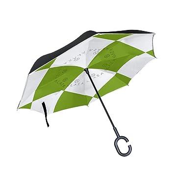 BENNIGIRY - Paraguas invertido de doble capa con cuadrados verdes blancos a cuadros, plegable,