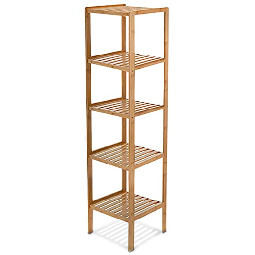 Relaxdays Bamboo Free Standing Bathroom Storage Unit With 5 Shelves Size 140
