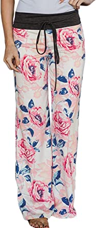 Mujer Pantalones Anchos Floreadas Moda Otono Cintura Media Con Cordon Pantalones De Tiempo Libre Joven Anchos Comodo Pantalon Anchos Trousers Women Amazon Es Ropa Y Accesorios