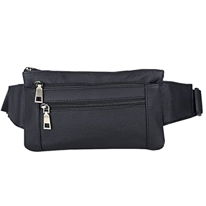 787da15b8ac5 AoMagic Genuine Leather Waist Pouch Hip Belt Bags Men   Women Slim Fanny  Pack Purse Black