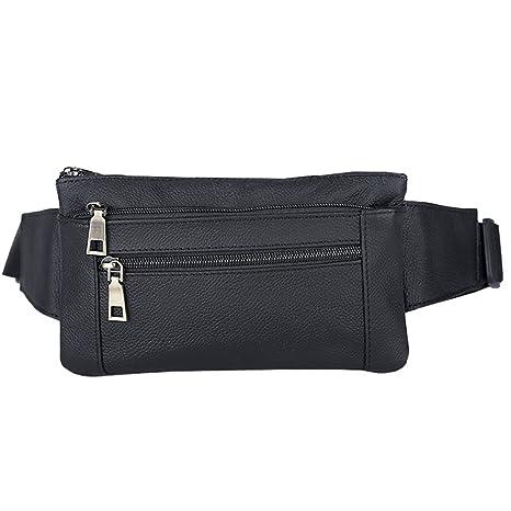AoMagic Genuine Leather Waist Pouch Hip Belt Bags Men   Women Slim Fanny  Pack Purse Black