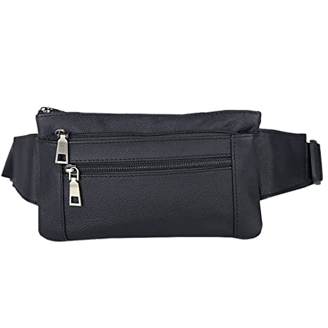 8051727be2500 AoMagic Genuine Leather Waist Pouch Hip Belt Bags Men   Women Slim Fanny  Pack Purse Black