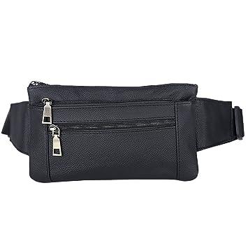 Amazon.com: aomagic piel auténtica bolsa de cintura cinturón ...