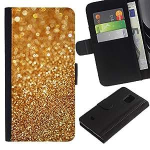 Planetar® Modelo colorido cuero carpeta tirón caso cubierta piel Holster Funda protección Para Samsung Galaxy S5 Mini (Not S5) (Not S5), SM-G800 ( Polvo de oro Bling borrosa metal Glitter Brillante )