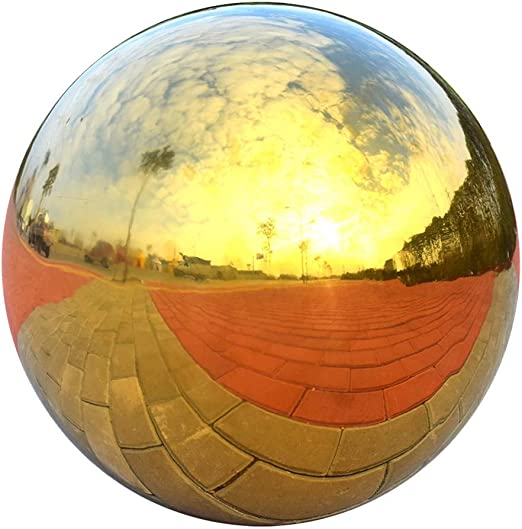 HomDSim Bola de Cristal de 15 cm con Esfera de jardín, Acero Inoxidable Pulido, Reflectante, Suave, Duradera, Colorida y Brillante, para decoración de jardín, Patio, hogar: Amazon.es: Jardín