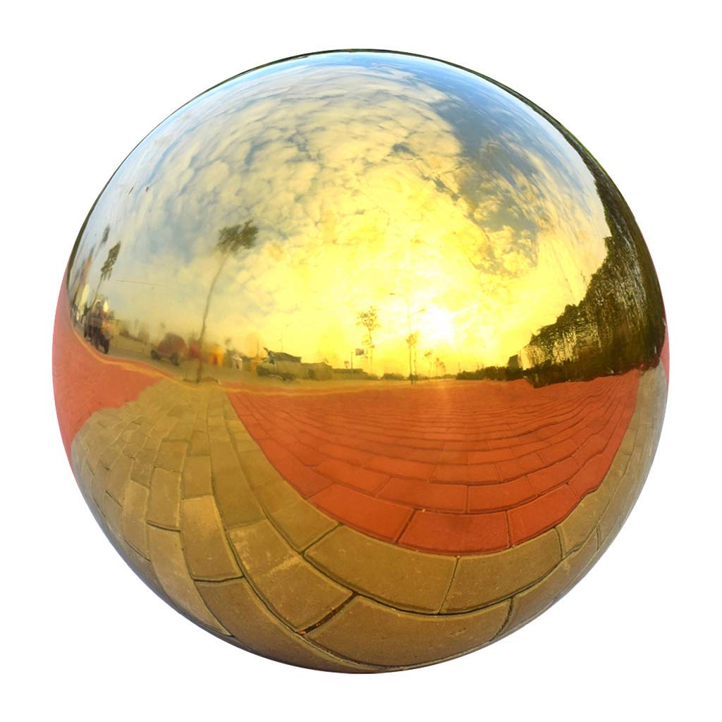 HomDSim 48cm/19 inch Diameter Gazing Globe Mirror Ball,Gold Stainless Steel Polished Reflective Smooth Garden Sphere,Colorful and Shiny Addition to Any Garden or Home by HomDSim (Image #1)