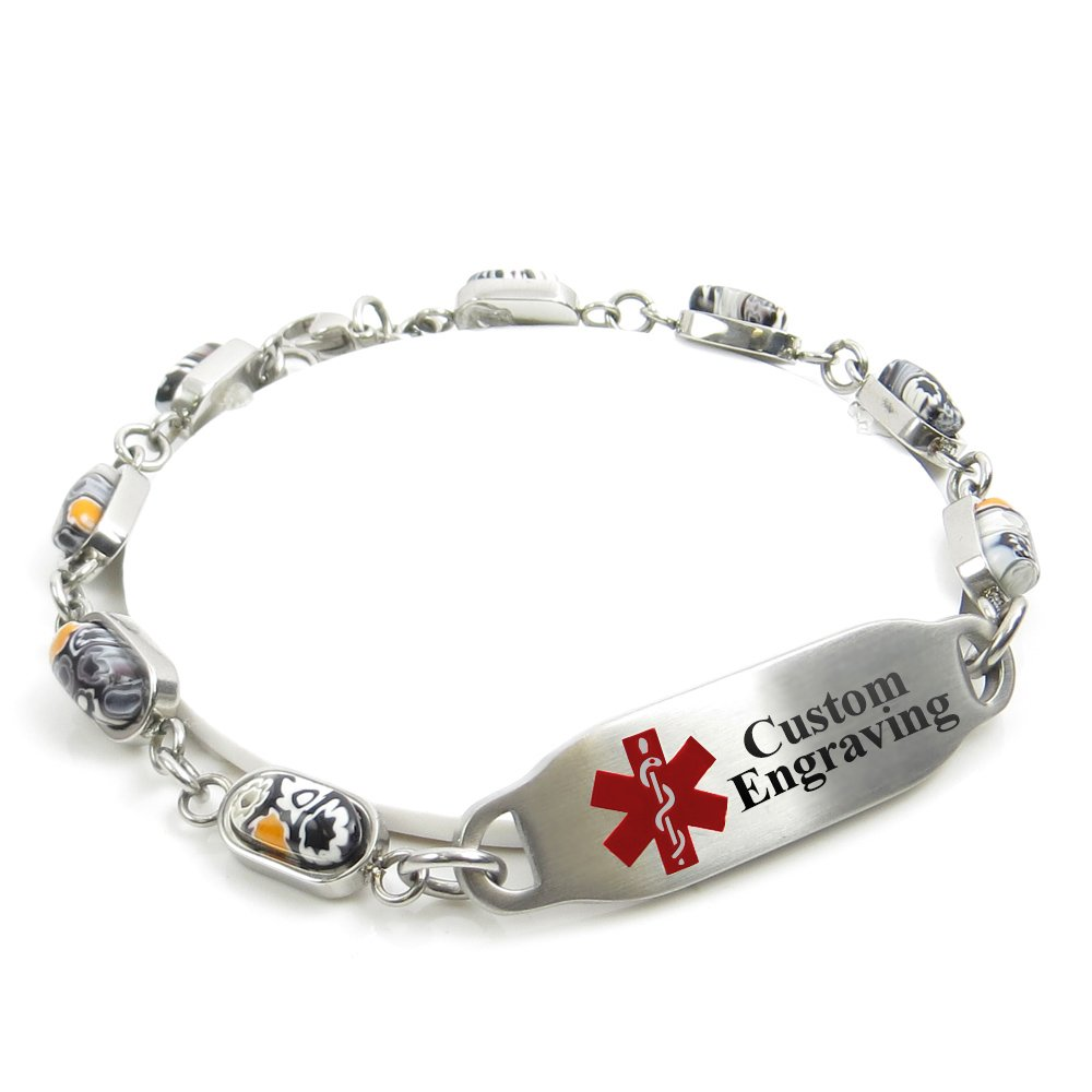 My Identity Doctor Medical Alert Bracelet for Women with Engraving - 5mm Steel & Glass - Red