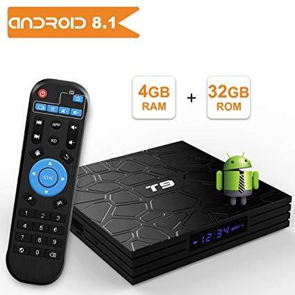 T9 Android 8 1 TV BOX, 4GB RAM 32GB ROM RK3328 Quad Core smart box supports  2 4Ghz WIFI USB 3 0 4K Resolution H 265 BT 4 1