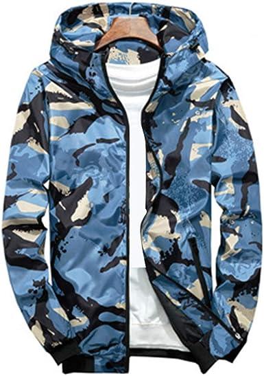 Rera Homme Hoodie Coupe Vent Camouflage Mince Veste Jacket en Vrac Sport à Capuche Manteau Outwear Casual Jeunesse Mâle Printemps Automne