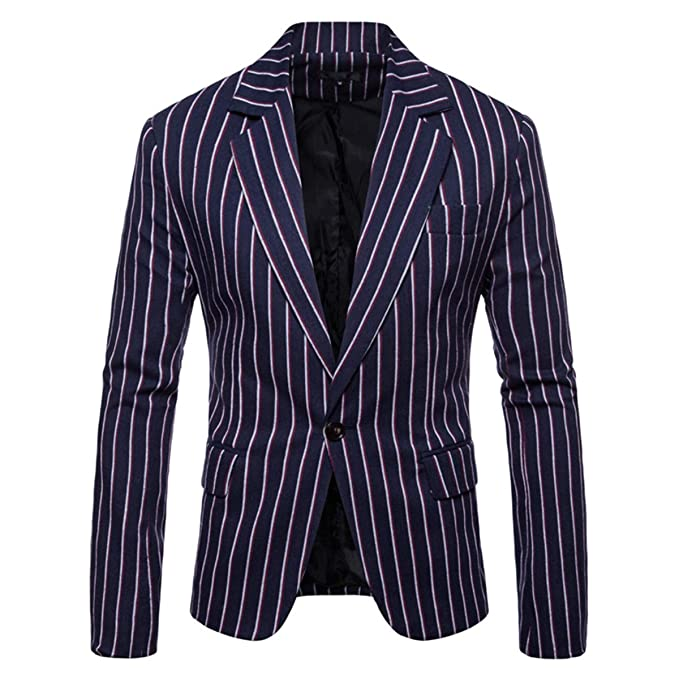 Men's Vintage Style Suits, Classic Suits Mens Casual Pinstripe Sport Coat Notch Lapel Classic Fit Printed Blazer $9.99 AT vintagedancer.com
