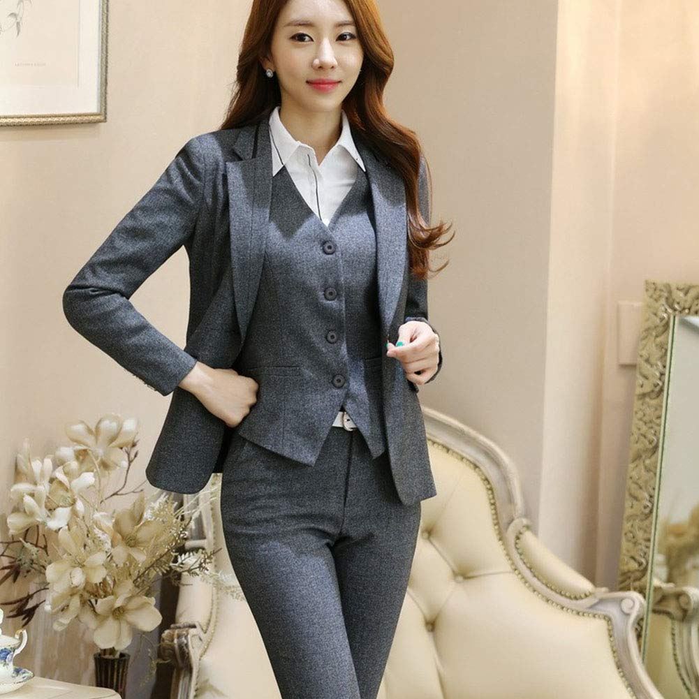Women's Three Pieces Office Lady Stripe Blazer Business Suit Set Women Suits for Work Skirt/Pant,Vest and Jacket by LISUEYNE (Image #3)