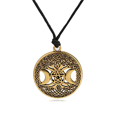 dfe610be25498 Ztuo Tree of Life Triple Moon Goddess Golden/Silver Necklace Celtic Knot  Pentagram Pentacle Star Pendant