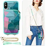 ZVE Case for iPhone Xs Max Case, 6.5 inch, Walllet Case with Credit Card Holder Slot Crossbody Chain Handbag Purse Wrist Zipper Strap Case Cover for Apple iPhone Xs Max 6.5 inch - Diamond