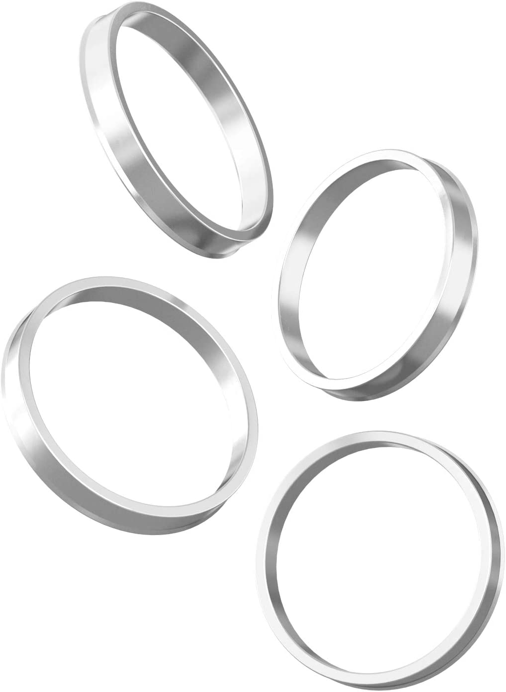 Only Fits 63.4mm Vehicle Hub and 74.1mm Wheel Centerbore Pack of 4 - 63.4mm ID to 74.1mm OD Hubcentric Rings Silver Aluminum Hubrings