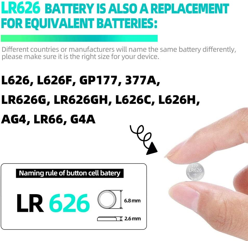 VEE LR626 Battery 377A AG4 LR66 1.5V Alkaline Button Cell Battery 20 Pack: Home Audio & Theater