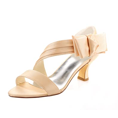 15ca1e66c9021 Emily Bridal Wedding Shoes Champagne Wedding Shoes Low Heel Satin ...