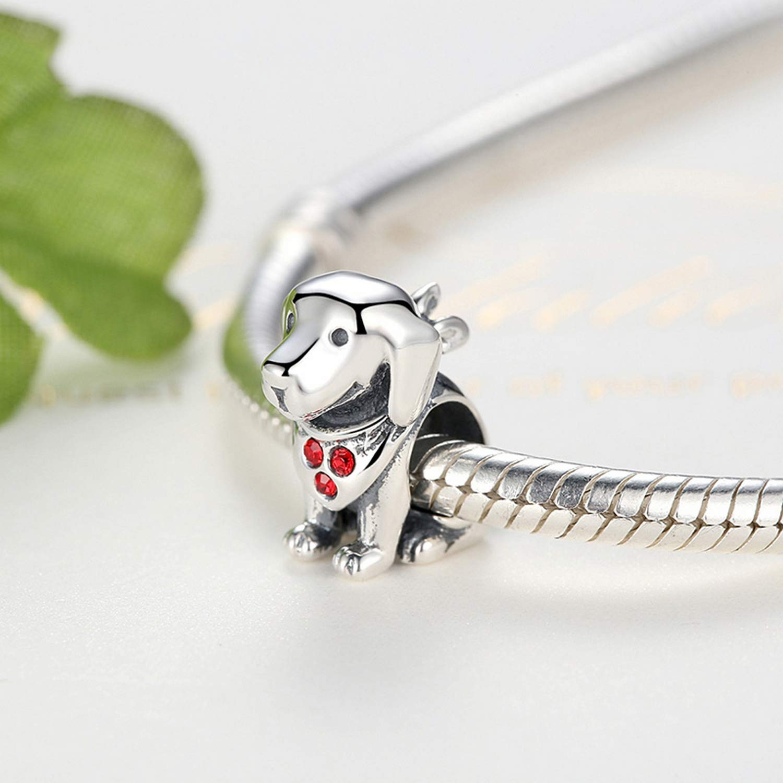 EverReena Beads Cute Labrador Dog Charm for Silver Bracelets
