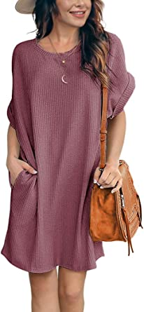 ihot Women Casual Waffle Knit Tunic Pockets Mini Dress Summer Short Sleeve Loose Round Neck Beach Cover Ups Sundress