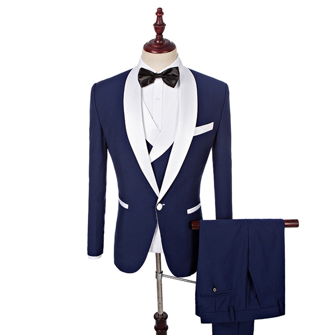 Yunjia Blue Groom Tuxedos White Shawl Lapel Men Suits with Pants Wedding Business Suit