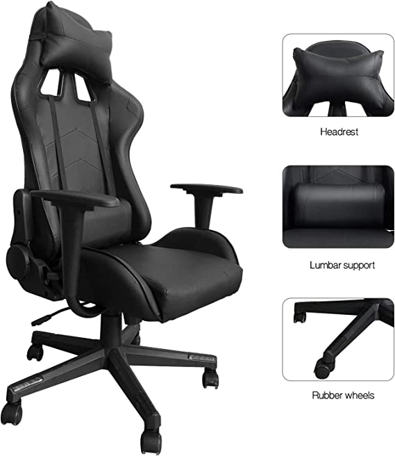 Modern-Depo Gaming Chair with Headrest and Lumbar Support