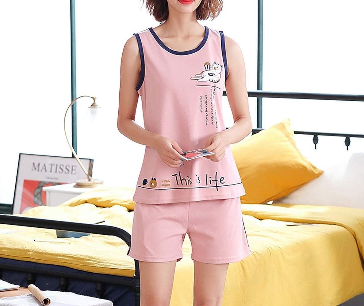 Cychelry Women Summer Pajamas Set-Cute Tank Top and Shorts Night Teens Sleepwear