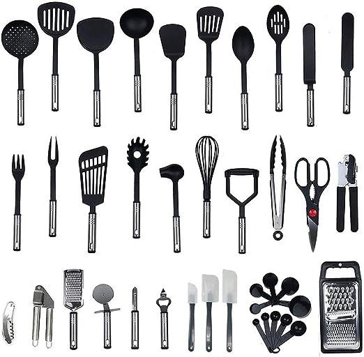 Best Kitchen Tool 40 Nylon Cooking Utensils Kitchen Gadgets Cookware Set Kitchen Utensil Set BPA Free NON Toxic-40pcs Black) Kitchen Utensils with Spatula