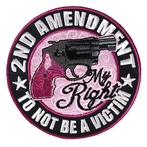 """Hot Leathers, My Right, The 2nd Amendment, TO NOT BE A VICTIM - Saw/Iron-On Ladies Pink Gun PATCH 3.5"""""""