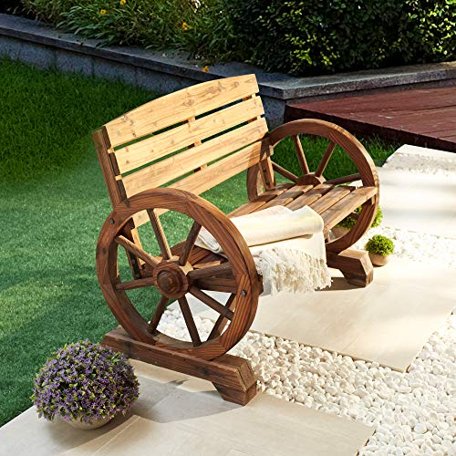 LOKATSE HOME Wooden Wagon Wheel Bench 2-Person Outdoor Rustic Chair Country Yard with Backrest, Burnt-Finished