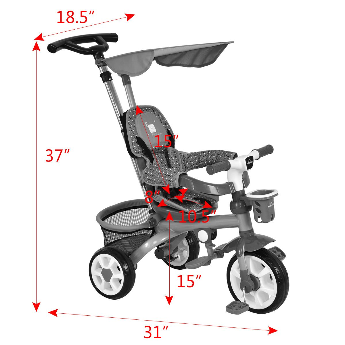 4-In-1 Kids Baby Stroller Tricycle Detachable Learning Toy Bike Canopy Basket by Eight24hours (Image #2)
