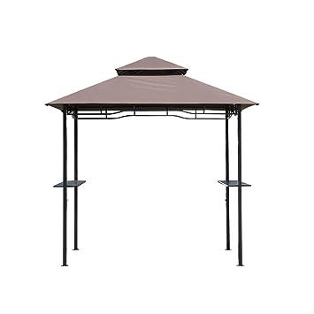 Outsunny – Carpa Cubierta Para Barbacoa BBQ Toldo De Exterior Doble Techo De Poliéster Café, 245 X 150 Cm: Amazon.es: Hogar