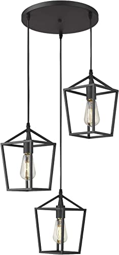 Emliviar 3-Light Cluster Pendant Lighting, Industrial Kitchen Island Light, Black Finish, 20065D-3 BK