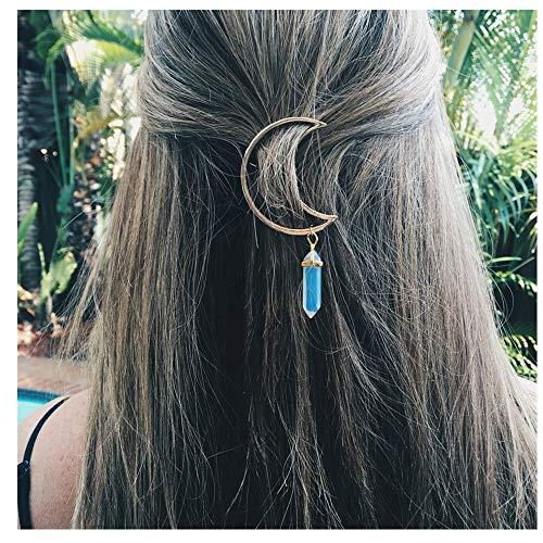 Sunbona Hair Clips for Women Girls Vintage Moon Quartz Hexagon Prism Alloy Hair Clip Stone Pendant Clamp Hairpin PK ()