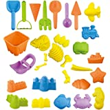 Shinehalo 30 Pieces Beach Sand Toys Set Sand Molds, Bucket, Shovels, Rakes, Vehicles, Sea Creatures, Castle Molds, Dinosaur Fossil Set, Summer Sea Beach Patio Play Tool Set for Kids, Random Color