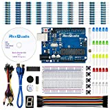REXQualis Arduino UNO Project Basic Starter Kit for Arduino w/UNO R3 Development Board, Detailed Tutorial, Breadboard, Buttons, Jumper Wires, Buzzer, LED and Resistor (163 Items)