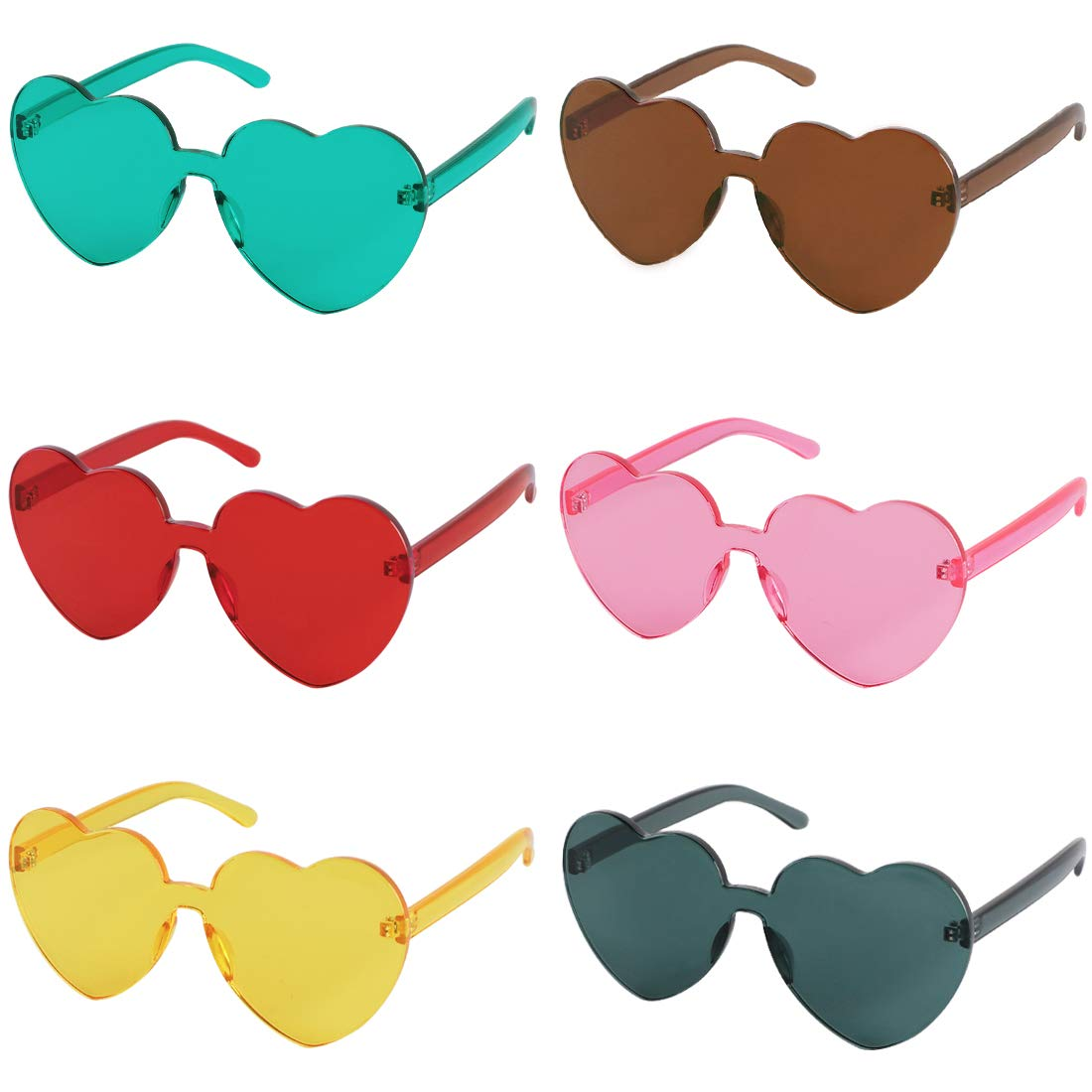 f9b505a26d kilofly 6 Sets Heart Shaped Yellow Red Orange Rainbow Colored Women  Sunglasses  Amazon.co.uk  Clothing