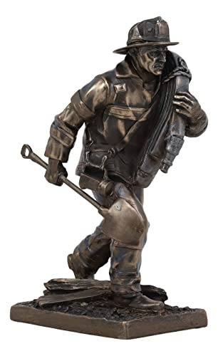 Ebros Fireman in Action with Shovel and Hose Pipe Statue 7.25 Tall Civil Service Hero Freedom Fire Fighter Decorative Sculpture 911 Emergency Fire Man Figurine Brigade Engine Rescue Operation Themed