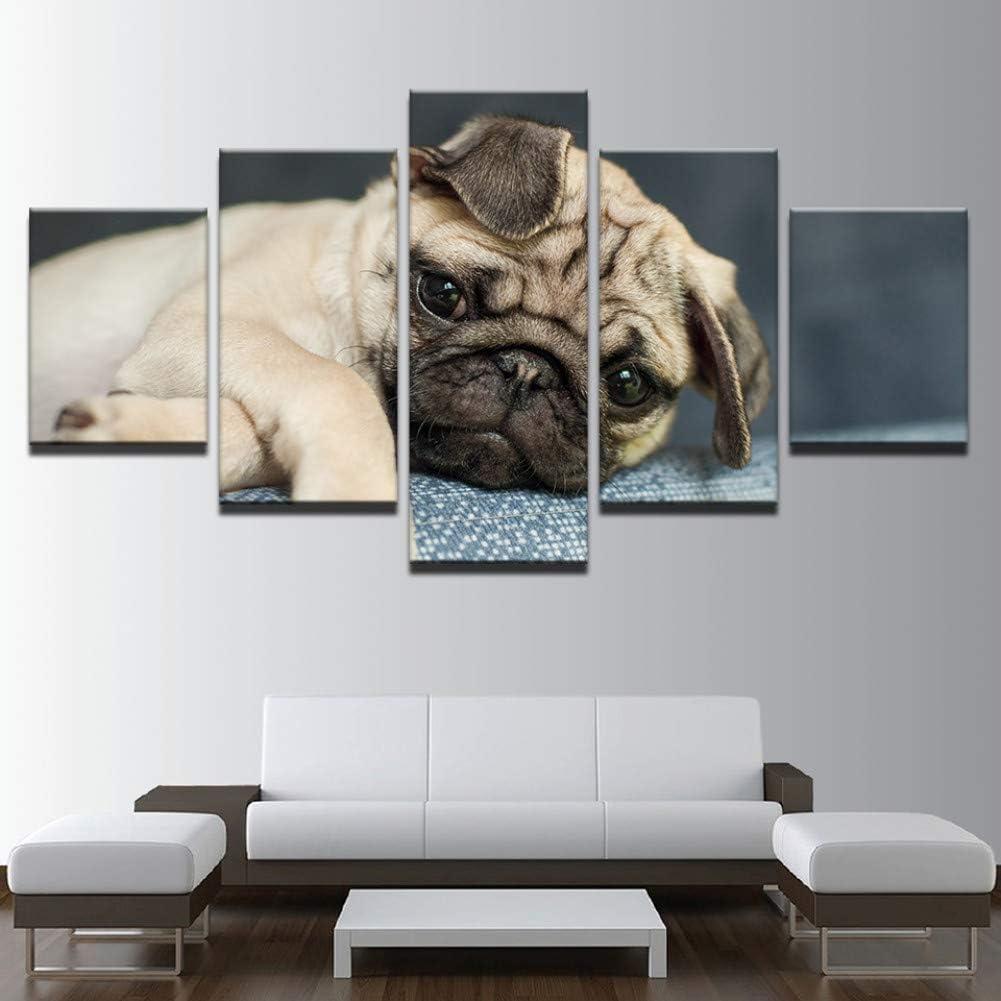 LZHZG 5 Leinwandbilder Wandkunst Bild Leinwand Kunst Wohnkultur Niedlichen Mops Welpen Bild Malerei F/ür Wohnzimmer Drucken Tier Hund Poster