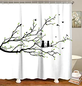 "LIVILAN Tree Branch Green Leaf Shower Curtain Set with 12 Hooks, Cat Pattern Fabric Bath Curtain Home Decoration Bathroom Accessories, 72"" x 72"""