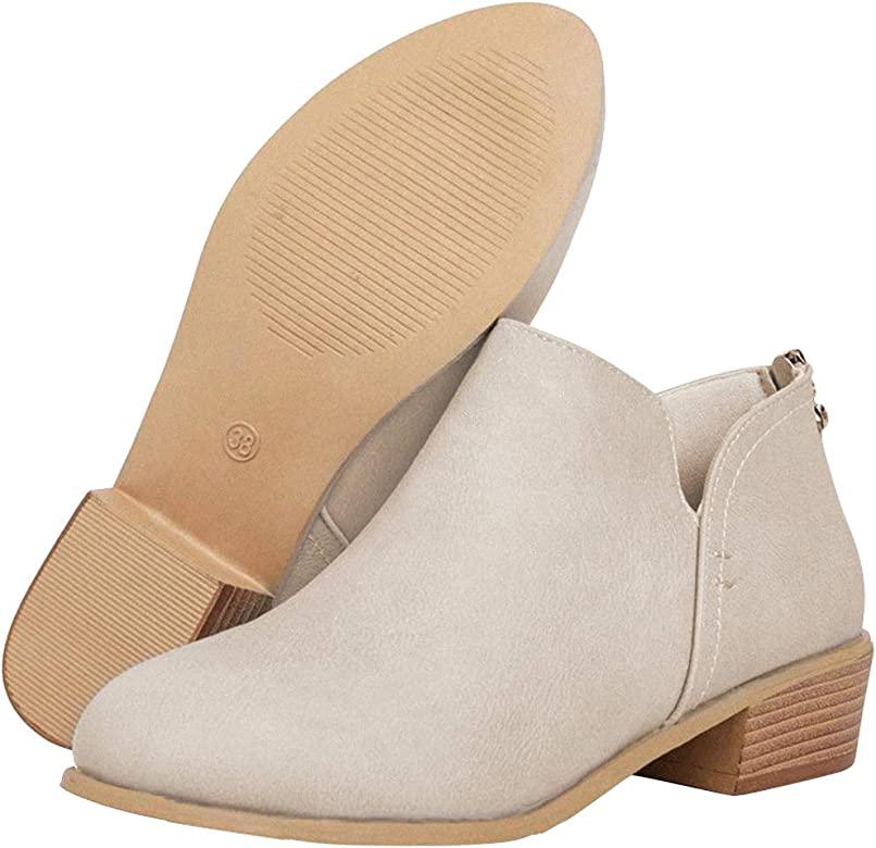 0dfeaef61f79 Athlefit Women's Casual Ankle Booties Cut Out Slip On Low Heel Short Boots  Ankle Heel Beige