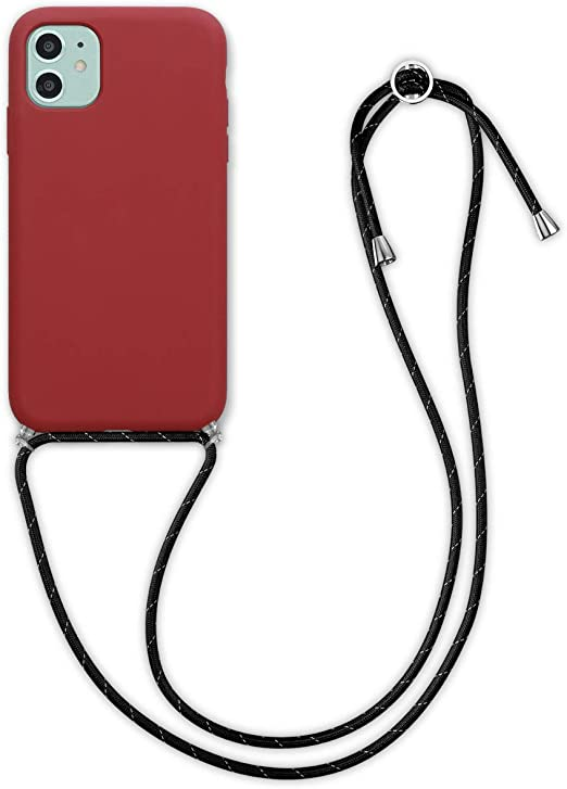 kwmobile Étui à bandoulière compatible avec Apple iPhone 11 – TPU avec revêtement en silicone avec cordon tour de cou – Rouge foncé