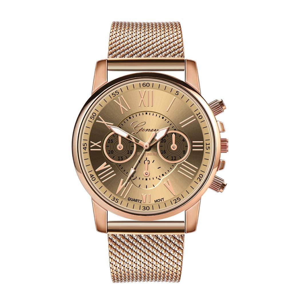 Pocciol Fashion Military Stainless Steel Quartz Watch Womens Casual Watch Luxury Analog Wristwatch (Beige)