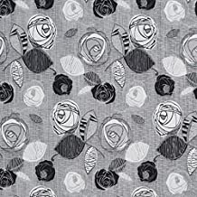 Onyx Bloom Black and Grey Flower Bloom Damask Upholstery Fabric by the yard