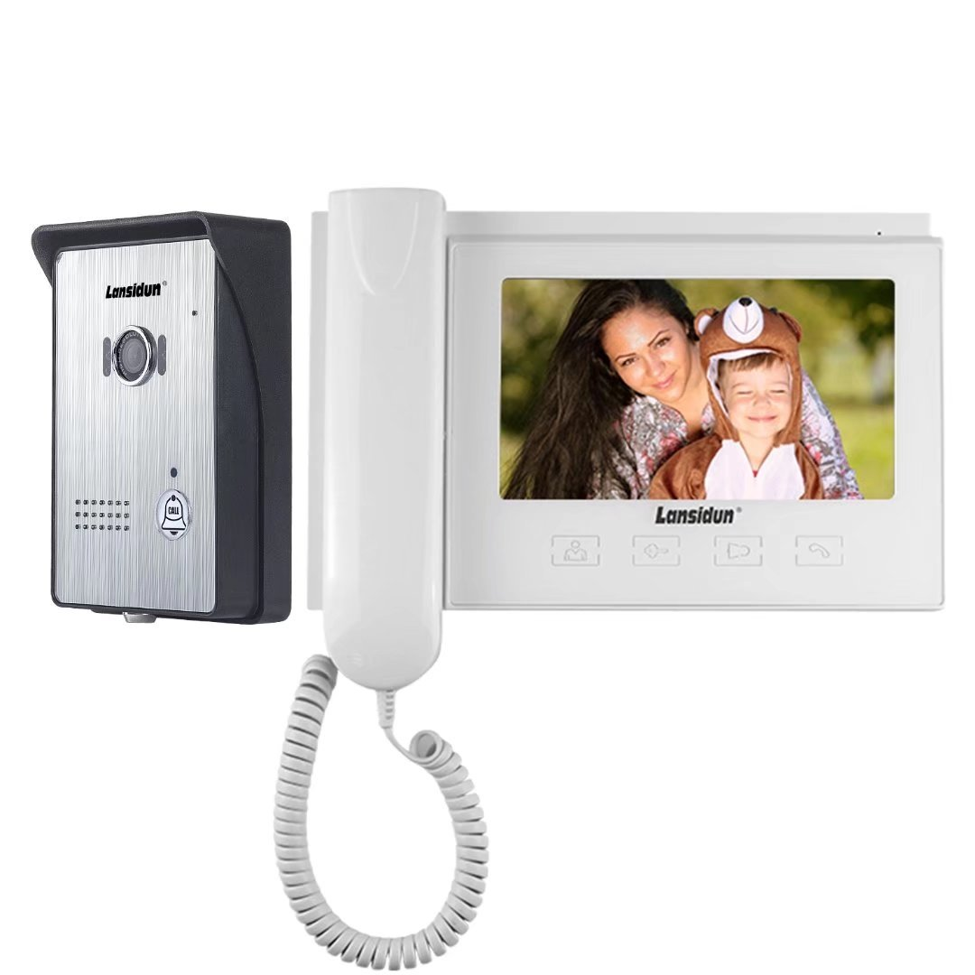 Video Doorbell, 7-inch Color Monitors and Surface Mounted HD Camera Video Doorphone, Unlock Control and Night Version Intercom System