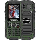 N.ORANIE AORO IP68 Waterproof Shockproof Dustproof Military Rugged 2G GSM Mobile Phone with Loud Speaker Flashlight & 2 Battery and Support 2 Unlocked SIM Cards for Outdoor Adventure Wild Trip(Green+Black)
