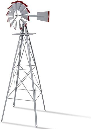 8-Ft Tall Ornamental Windmill Lawn Yard Speed Steel Garden Weather Vane Rustic