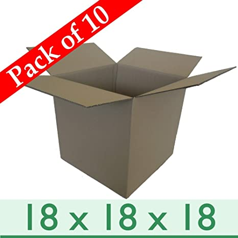 f23999a8176 Pack of 10 Large Office Removal Moving Cubed Cardboard Boxes - Double Wall  - 18