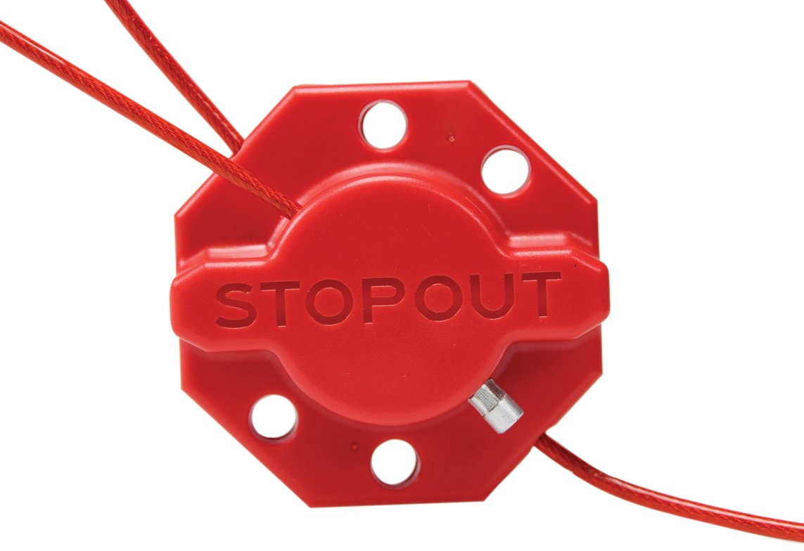 Accuform KDD637 STOPOUT Twist 'n Lock Cinch Lockout Hasp with 6-ft. Red Plastic-Coated Steel Cable, Polycarbonate, Red
