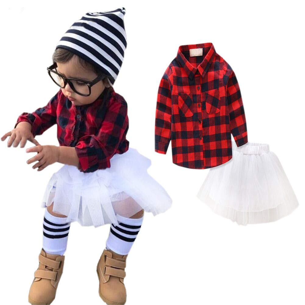 13190bc893 Amazon.com: SANGTREE Little Girl's Button Down Shirt & Skirt Set, 12M - 5  Years: Clothing