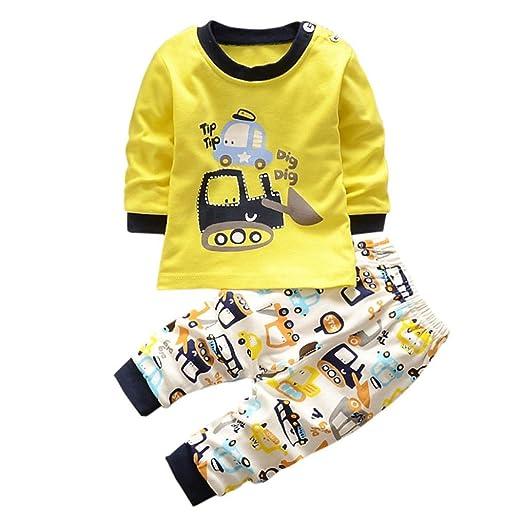 🍄 Bebe Invierno por 0-3 Años, 🌸 Zolimx Bebés Recién Nacidos Niños Niñas de Dibujos Animados Estampado Sudaderas Tops Camisa + Pantalones Largos Conjuntos: ...